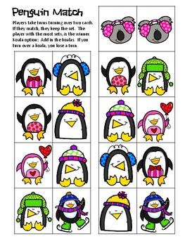 Friday Freebie  Feb. '18 #4  Penguin Match