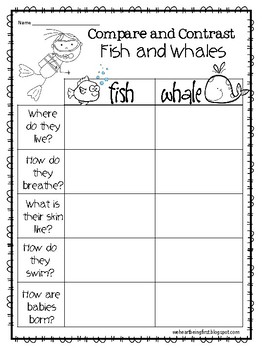 Friday Freebie  May '18 #1 Compare Fish and Whales