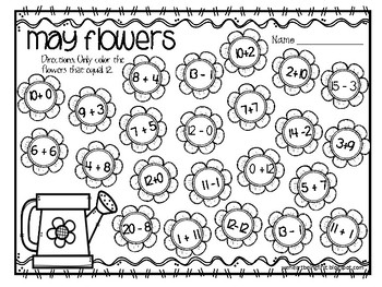 Friday Freebie  May '18 #2 May Flowers Math-  What Makes 12?