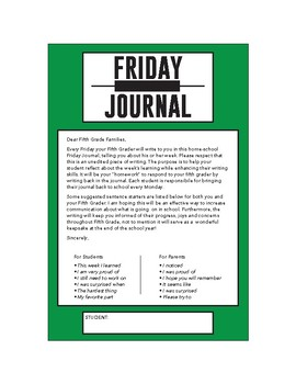 Friday Journal letter label- Personal Narrative Writing, Fifth Grade
