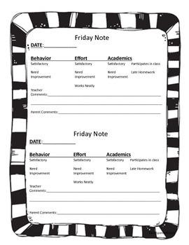 Friday Note for behavior