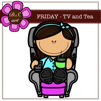 Friday - TV and Tea Digital Clipart (color and black&white)