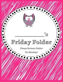 Friday and Homework Folder Covers -- Owl Theme