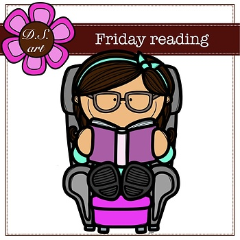Friday reading Digital Clipart (color and black&white)