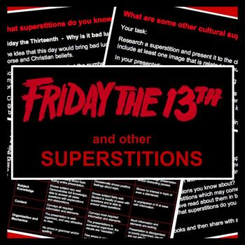 Friday the 13 & Other Superstitions: PowerPoint Presentation & Research Task