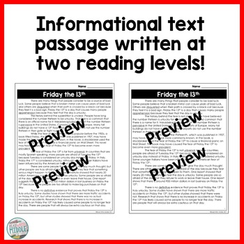 Friday the 13th Differentiated Reading Passage & Context Clues Activities