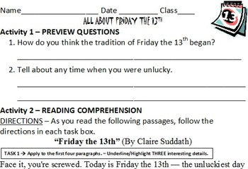 Friday the 13th Reading Comprehension Activities - worksheet