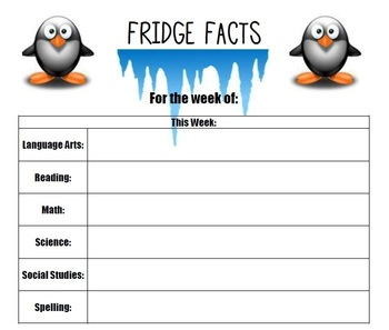 'Fridge Facts' - Weekly Parent Newsletter Template