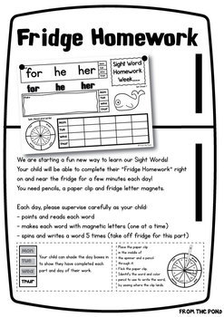 Sight Word Fridge Homework Worksheets - Fun Way to Learn