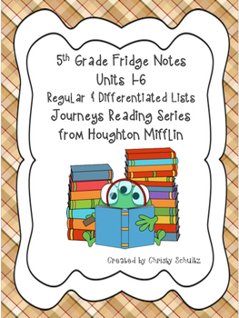 5th Grade Spelling & Vocab. Lists for Journeys 2017 Reading Series- All Units