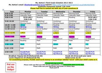 'Fridge Student Schedule