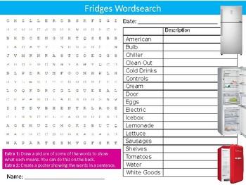 Fridges Wordsearch Puzzle Sheet Keywords Homework Food Kitchen The Fridge