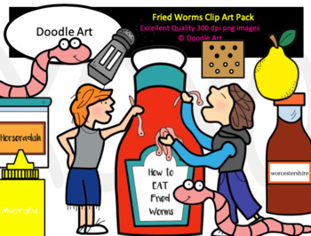 Fried Worms Clip Art Pack
