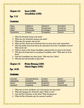 Friedrich Novel Study Packet: Questions, Essays/Projects, Vocabulary Tests