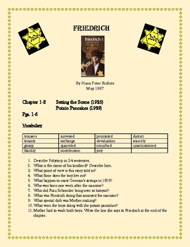 Friedrich Novel Study Packet: Questions, Essays/Projects,