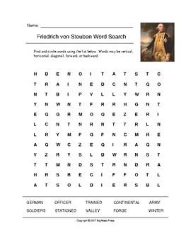 Friedrich von Steuben Word Search (Grades 4-5)