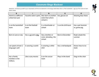Classmate Bingo - Getting to Know Each Other