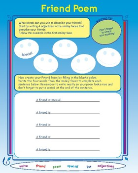 Friend Poem Activity and Lesson Plan