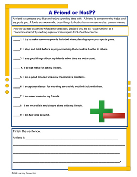 Character and Life Skills: Friendship Checklist