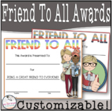 Friend to All Superlative (Upper Elementary) EDITABLE Superlative
