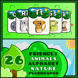 Friendly Animals Alphabet Flash Cards Nature Theme