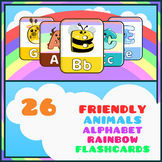 Montessori Friendly Animals Alphabet Flash Cards Rainbow Theme + Game Cards