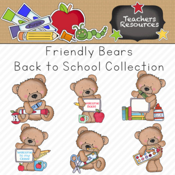 Friendly Bears Back to School Clipart Collection    Commercial Use Allowed