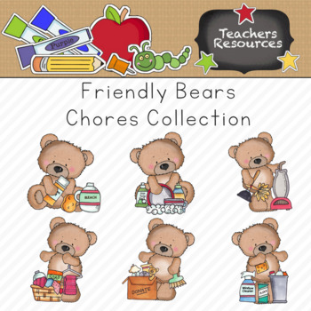 Friendly Chore Bears Clipart Collection    Commercial Use Allowed