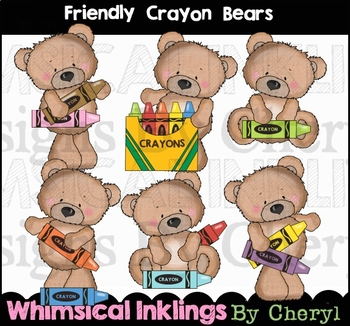 Friendly Crayon Bears Clipart Collection