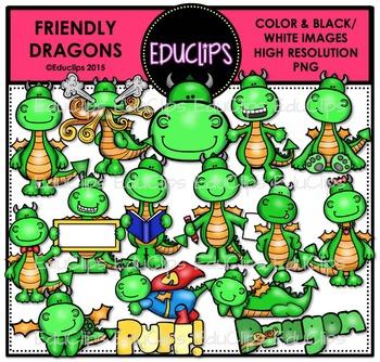 Friendly Dragons Clip Art Bundle {Educlips Clipart}