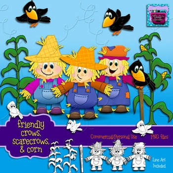 Fall Scarecrows, Crows, & Corn Clipart