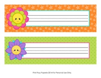 Friendly Flowers Classroom Decor Desk Name Plates