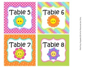 Friendly Flowers Classroom Decor Table Numbers