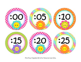 Friendly Flowers Clock Number Labels