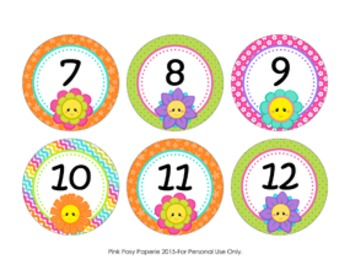 Friendly Flowers Cubby Number Labels 1-30