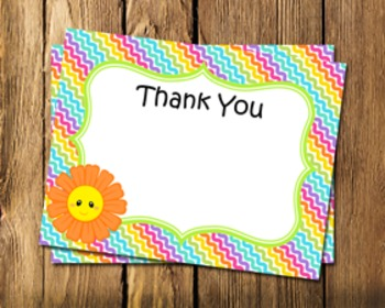 Friendly Flowers Flat Thank You Note Cards