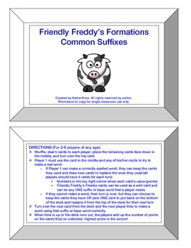 Friendly Freddy's Common Suffixes Game