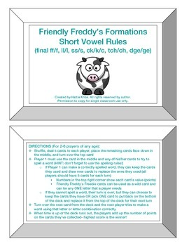 Friendly Freddy's Short Vowel Rules (FLOSS, -ck, -tch, -dge) Game