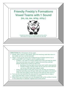 Friendly Freddy's Vowel Teams with 1 Sound Game
