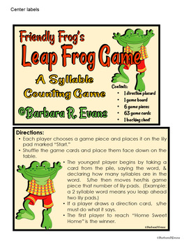 SYLLABLES LITERACY CENTER Friendly Frog Syllables Game Phonics