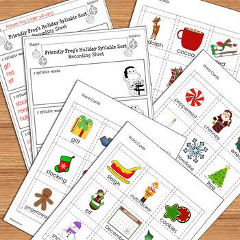 SYLLABLES LITERACY CENTER Christmas Theme Syllable Sort Syllable Activity