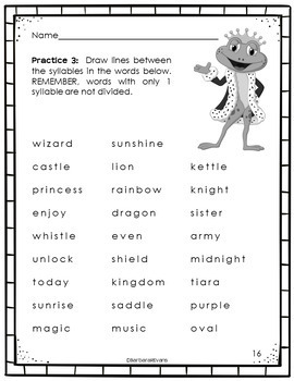 SYLLABLES: Syllables Activity, Syllables Practice, Syllables Rules, Worksheets