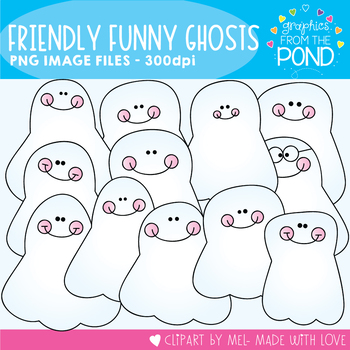 Friendly Funny Ghosts - Clipart for Teaching Resources