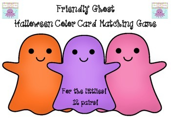 Friendly Ghost Halloween Color Card Matching Game For Pre K-1 Fun Activity