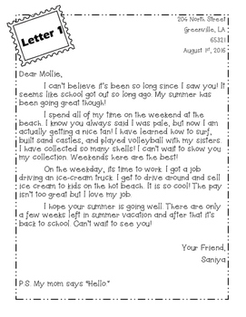 Friendly Letter Activity and Tri-fold