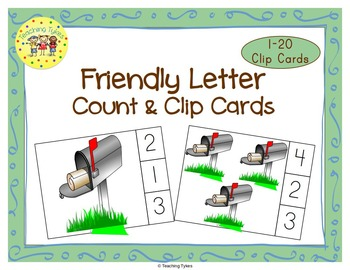 Friendly Letter Count and Clip Task Cards