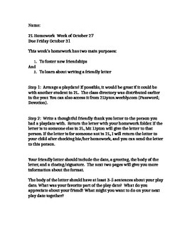 Friendly Letter Creative Writing Assignment