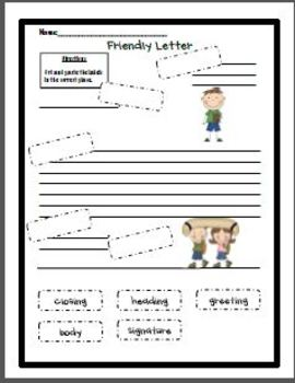 friendly letter format for 2nd grade friendly letter cut and paste by janna walsh teachers 16826