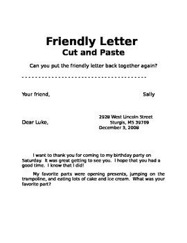 Friendly Letter Cut and Paste