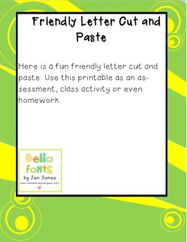 Friendly Letter Cut and Paste Activity